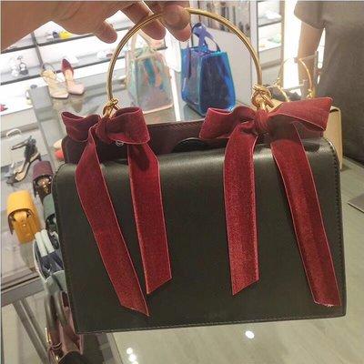╭☆包媽子店☆CHARLES&KEITH 復古絲絨蝴蝶結拼皮手提單肩包~3色~