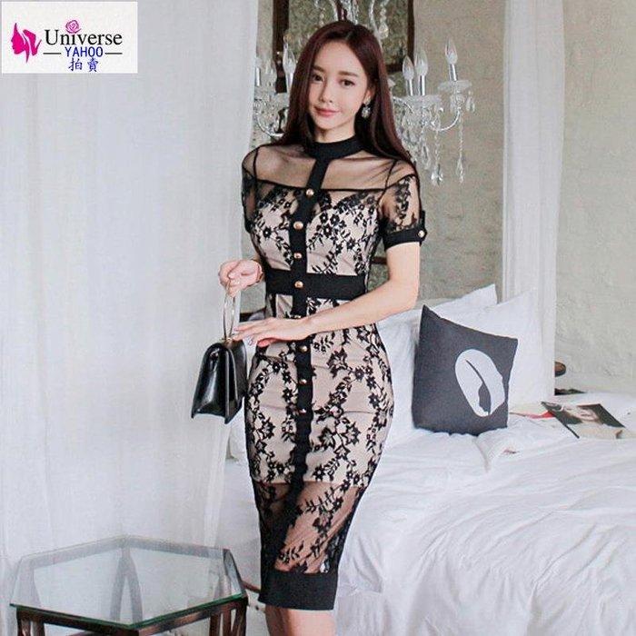 歐美韓版流行氣質蕾絲連衣裙夏季新款名媛修身短袖包臀中長款宴會禮服女裝