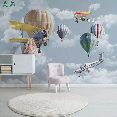 佩奇壁纸歐式現代電視背景墻壁紙熱氣球壁布兒童房墻紙8D客廳裝飾臥室飛機小猪佩奇