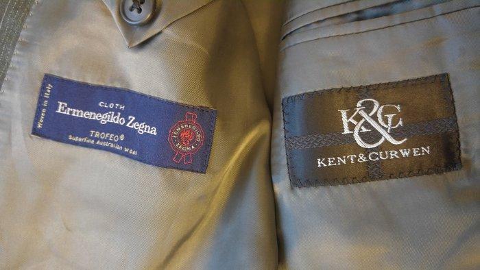 【KENT & CURWEN】X【Ermenegildo Zegna 】TROFEO澳洲小羊毛 鐵灰條紋單排釦西裝