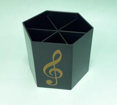 音符六角筆筒 大容量筆筒 可分格 自由組合隔層 刷具 收納 文具 多用途 台灣製-LH