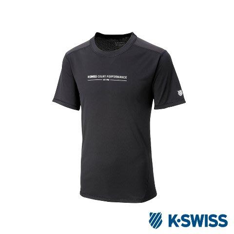 DIBO弟寶-免運 現貨 K SWISS 蓋世威 男生 運動T恤 吸濕快排 短袖 排汗衫-黑/拼接-有大尺碼