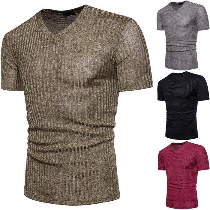 『潮范』 S5 男士大碼T恤 非洲風時尚V子領子設計純色短袖T恤 素面T恤NRG798