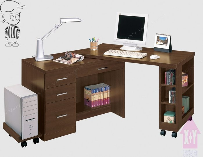 【X+Y時尚精品家具】現代書桌電腦桌系列-歐爾 4尺胡桃多功能電腦桌.不含主機架.摩登家具