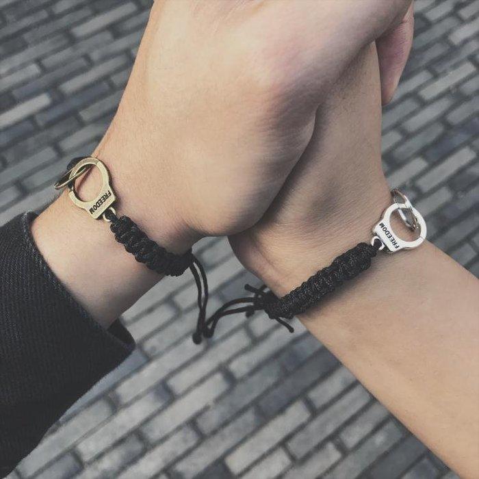 歐美潮牌男女情侶手銬手鏈日韓版復古學生純手工手繩男潮百搭飾品