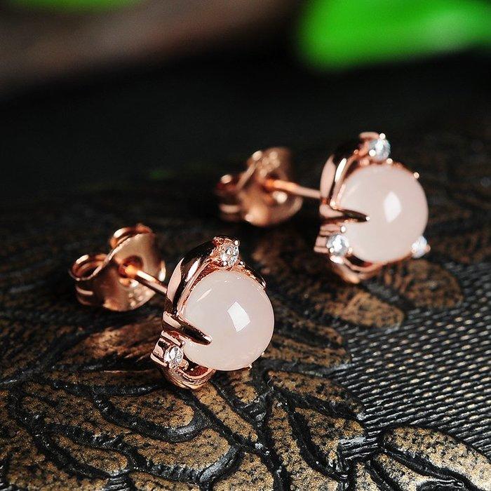 925銀  鑲嵌 和闐玉 蛋面耳釘  正品  天然 玉石 白玉  耳環時尚簡約女款耳飾