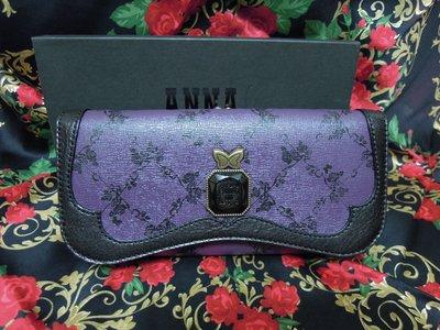 *水漾美人*全新ANNA SUI安娜蘇限量薔薇圖案紫色長夾**㊣專櫃貨㊣