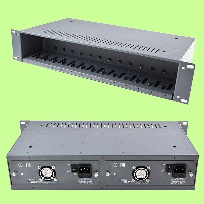 5Cgo【權宇】Haohanxin HHX 14槽NetLink 雙電源光纖2U機架 外置收發器專用機 五年保固 含稅