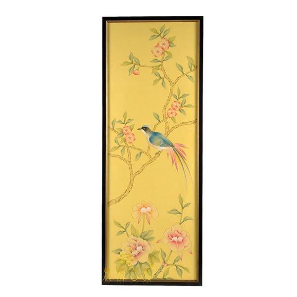【芮洛蔓 La Romance】東情西韻系列手繪絹絲畫飾 黃底花鳥 CHY-037