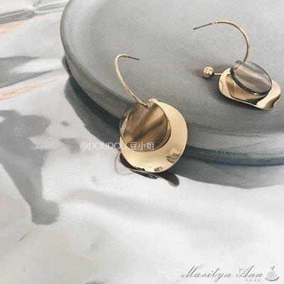 耳環 歐美長款圓形金屬誇張大牌大圓片耳環ins復古網紅個性