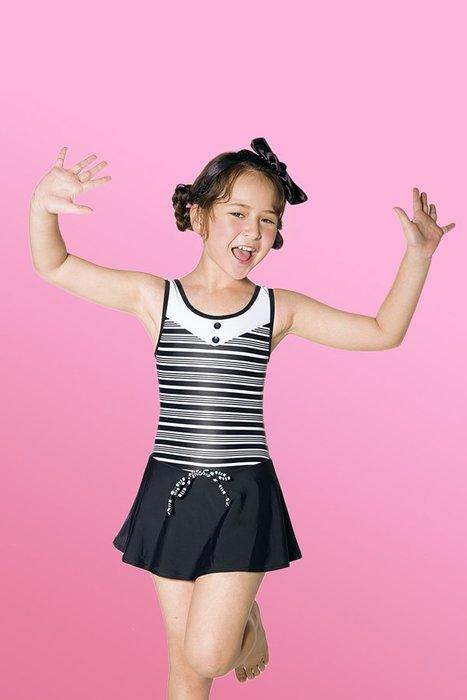 【M8553 】梅林泳裝降價↘特賣~女童黑白橫條連身裙泳衣  贈泳帽