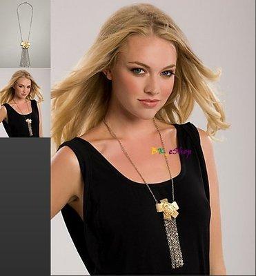 【美衣大鋪】☆ GUESS 正品☆ Bow Plaque Necklace with Chain 蝴蝶結項鍊