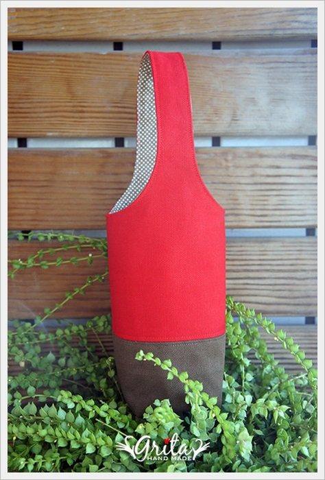 ♥grita's handmade♥手作環保飲料提袋/手搖杯/環保杯袋/隨身提包/帆布包—紅咖啡雙色(預購)