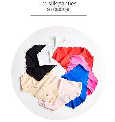 大碼一片式冰絲無痕内褲 波浪貼身低腰性感純棉檔女三角褲 B3-0233