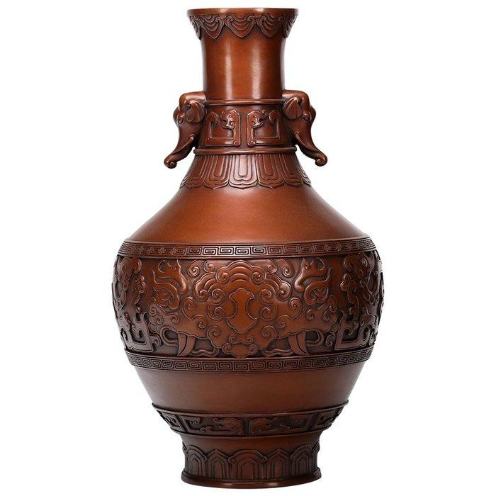 全銅工藝花瓶家居裝飾品客廳紫銅插花擺件中式花器擺設