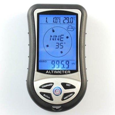 方便實用 8合1電子高度計 登山可擕式 釣魚氣壓計指南針海拔溫度計量-NFO