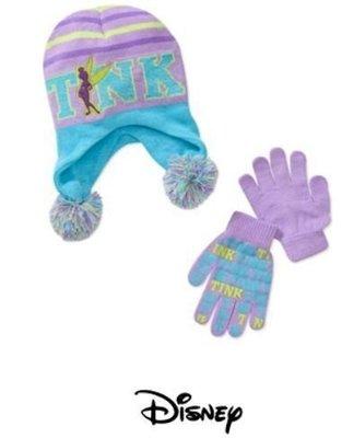 【Nichole's歐美進口優質童裝】女童Disney 夢幻迪士尼花仙子暖暖毛線帽+手套二件組one size