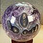 柏晶 烏拉圭超大球花滿財眼招財開口笑紫水晶球(含實木底座) #224
