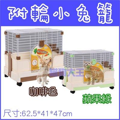 **貓狗大王**AOTNG附輪小兔籠【咖啡/綠】二色可選 /加高兔籠