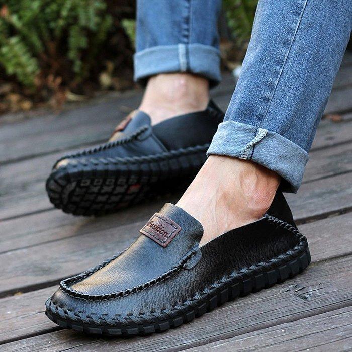 [鴻運]2020新款真皮寬頭肥寬腳男士皮鞋低幫軟皮軟底休閑鞋大頭鞋豆豆鞋