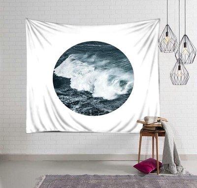 掛毯 掛布 直播布 背景布 掛飾北歐文藝風ins掛布 圓形海浪風景客廳墻面背景裝飾畫布掛毯桌蓋布