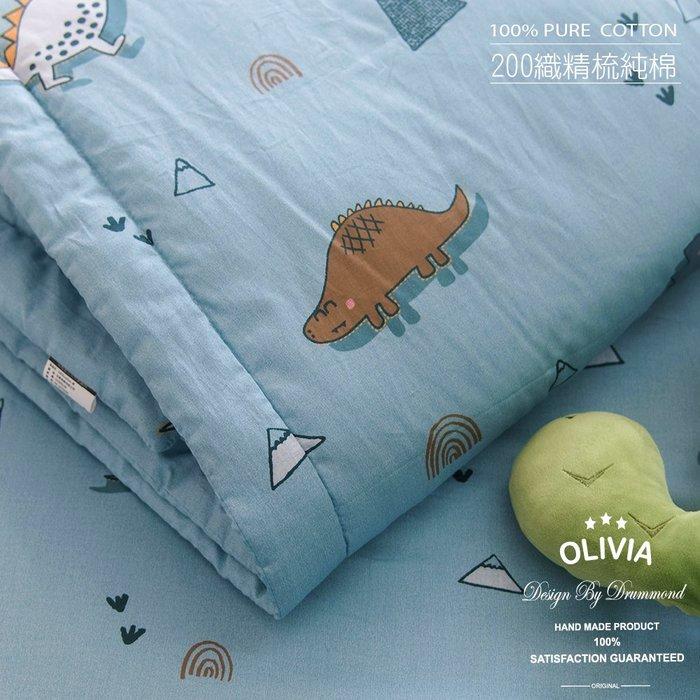 【OLIVIA 】DR320 淘氣恐龍 藍  5尺X6尺 夏日涼被/車用毯/童用被 【單品】  台灣MIT