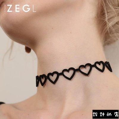 【9折免運】 韓國愛心形項圈choker項鏈女鎖骨鏈短款網紅黑色脖子飾品頸帶頸鏈【設計的店】