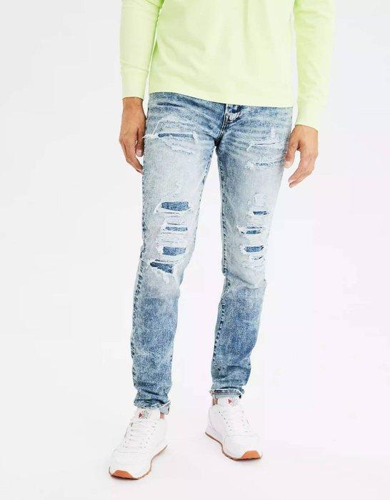 【現貨 29 30 31 33】 AE 美國老鷹 個性穿搭經典彈性修身漸細錐形刷破牛仔褲 牛仔破褲