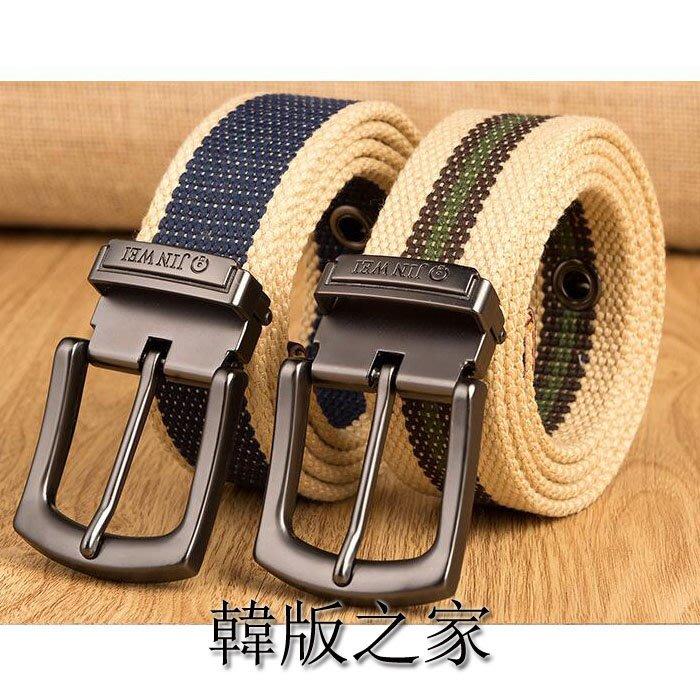 韓系男士針扣帆布腰帶戶外加厚加長百搭編織布皮帶 Y79