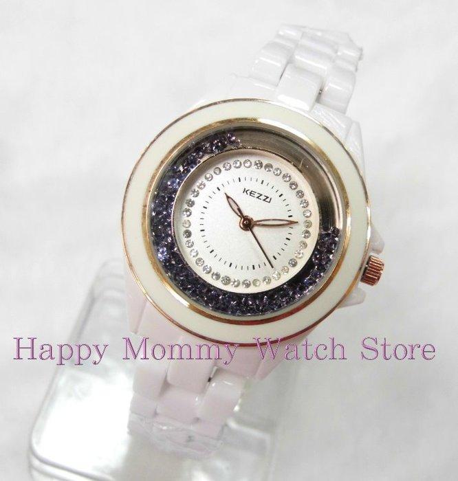 【幸福媽咪】網路購物、門市服務 香港潮牌 KEZZI 陶瓷錶帶腕錶 女錶 34mm K-802L