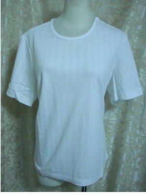 ~麗麗ㄉ大碼舖~大尺寸S(42吋)白色條紋布面圓領短袖彈性上衣~加大碼~