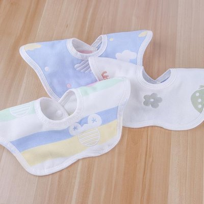 六層360度口水巾純棉寶小孩圓形花瓣圍嘴紗布圍兜新生嬰兒童飯兜