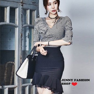 ∴?☆ 【JENNY SHOP】☆*∴韓國連線 正韓~時尚雪紡拼接不規則魚尾半身裙-預購