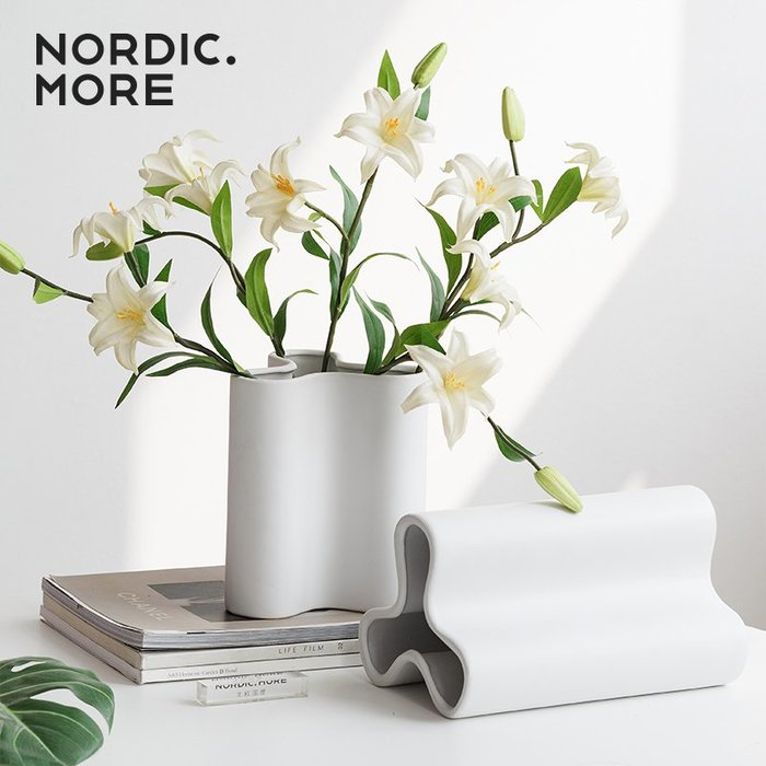 L. K花瓶客廳裝飾插花花瓶擺件創意水培花器陶瓷餐桌裝飾