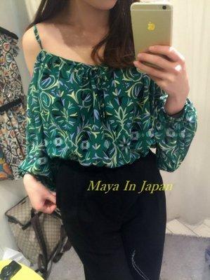任選第二件半價 私物出清-轉賣日本Sly專櫃品牌雪紡挖肩超性感渡假花柄上衣