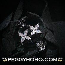 【Peggyhoho】全新18K白金46份超白超閃鑽石耳環| 典雅小花款 |欖尖馬眼形marquise鑽石