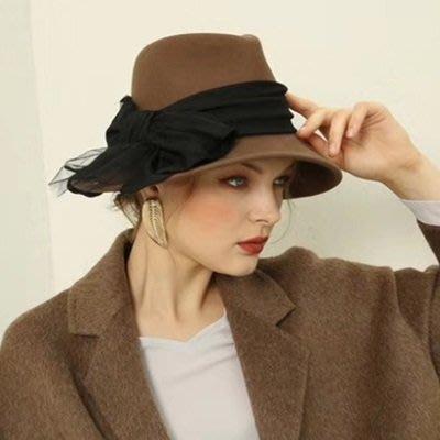 羊毛呢帽 爵士 帽-時尚大蝴蝶結秋冬精選女帽子2色73tk4[獨家進口][米蘭精品]