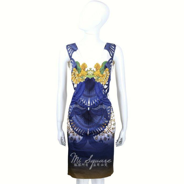米蘭廣場 CLASS roberto cavalli 藍白色圖騰暈染無袖洋裝 1520551-77