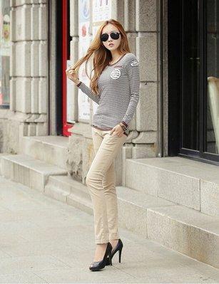 =EZZ=11 韓國 首爾時尚精品 東大門同步  蒙麗韓版長袖條纹 女T S碼~2XL碼