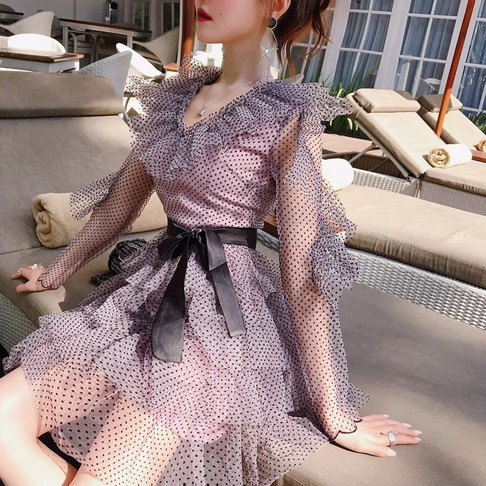《巴黎拜金女》裙子仙女超仙森系連衣裙法式少女波點蛋糕裙