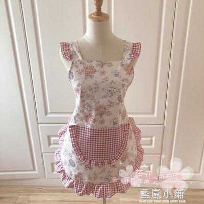 韓版時尚圍裙純棉 可愛灰豆沙公主花邊成人廚房無袖家居圍裙