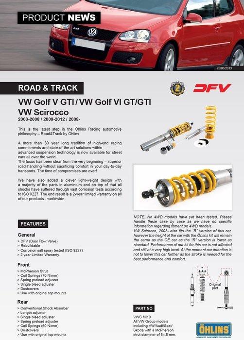 VW 福斯 Golf GTI V 五代 5代 03-08 專用 瑞典 Ohlins Road & Track 避震器