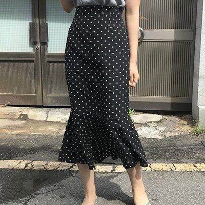 長裙韓風 可愛點點修身包臀魚尾裙 艾爾莎【TAE6924】