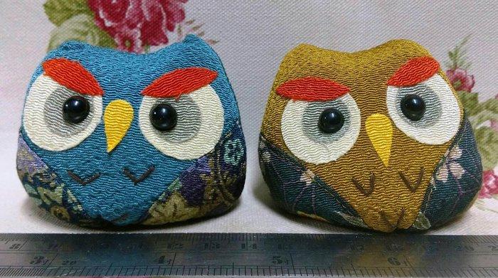 龍廬-自藏二手出清~布製品-日式和風拼布沙包擺設組-貓頭鷹造型二入1套/只有一套