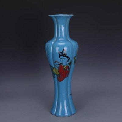 【三顧茅廬 】後周柴窯青釉薄胎彩繪美人圖刮徑觀音瓶 出土文物古瓷器古玩收藏