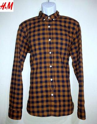 【J&K嚴選】日版 H&M -男款 斜紋 格纹襯衫 (淺咖啡)-M號【新春特賣】LV來自星星的你