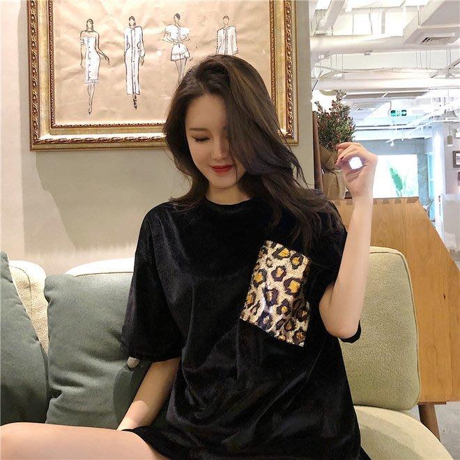 FINDSENSE G6 韓國時尚潮流 2019豹紋金絲絨口袋寬鬆圓領短袖T恤打底衫中長款女裝上衣