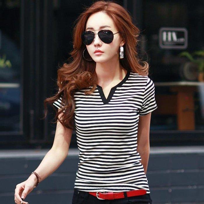 (超夯免運)夏新品女裝修身V領打底衫大碼百搭黑白橫細條紋短袖t恤女上衣