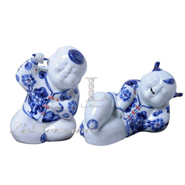 【芮洛蔓 La Romance】 正宗景德鎮青花瓷之雕塑瓷 - 嬰戲圖 / 人物 / 送禮 / 擺飾