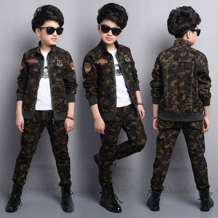 [C.M.平價精品館]170現貨/二件式帥氣迷彩夾克型棉質長袖套裝